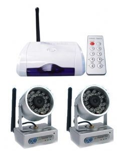wirelss cctv security camera system with 2 night vision cameras
